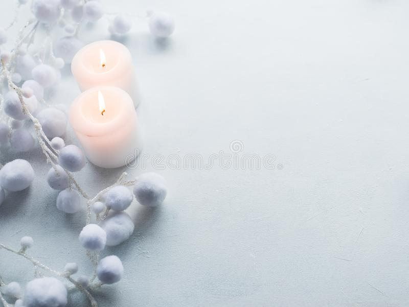 Candles white background winter decor royalty free stock photo