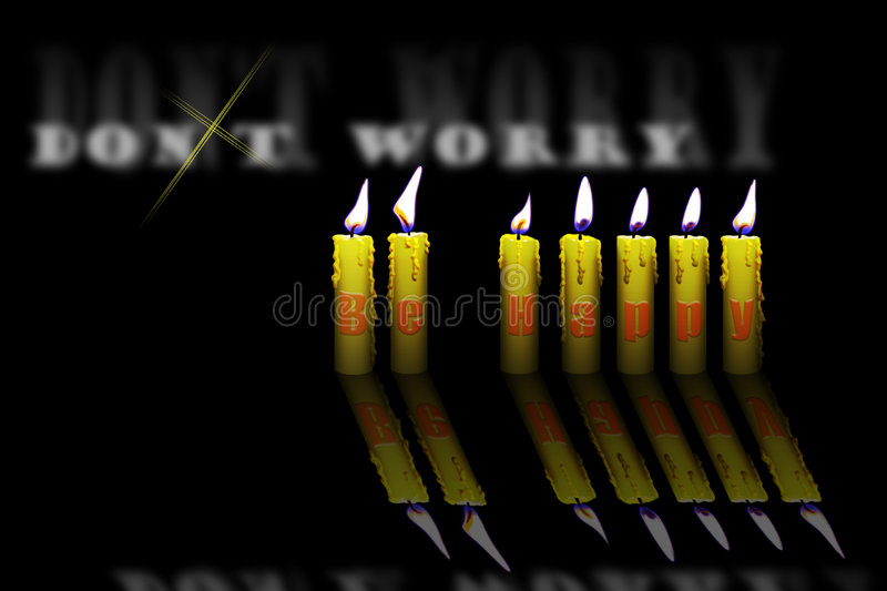 Candles And Words Dont Worry Be Happy Royalty Free Stock Images