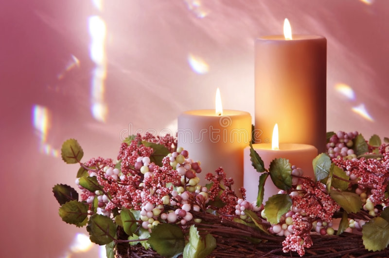 Candles and Wreath stock images