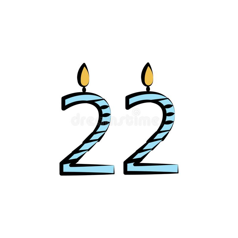 candles for 22 years colored icon. Element of birthday icon for mobile concept and web apps. Color candles for 22 years icon can b royalty free illustration