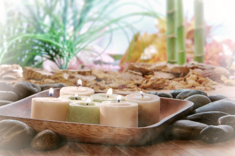 Candles in Zen Garden for Meditation or Relaxation stock image