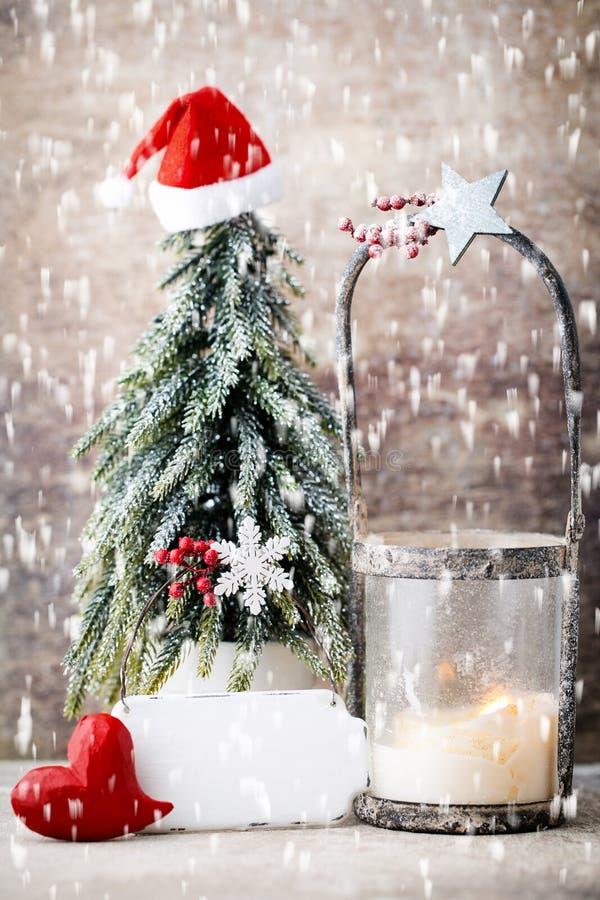 Candlestick Bo?enarodzeniowy lampion Cristmas dekoracja, kartka z pozdrowieniami obraz stock