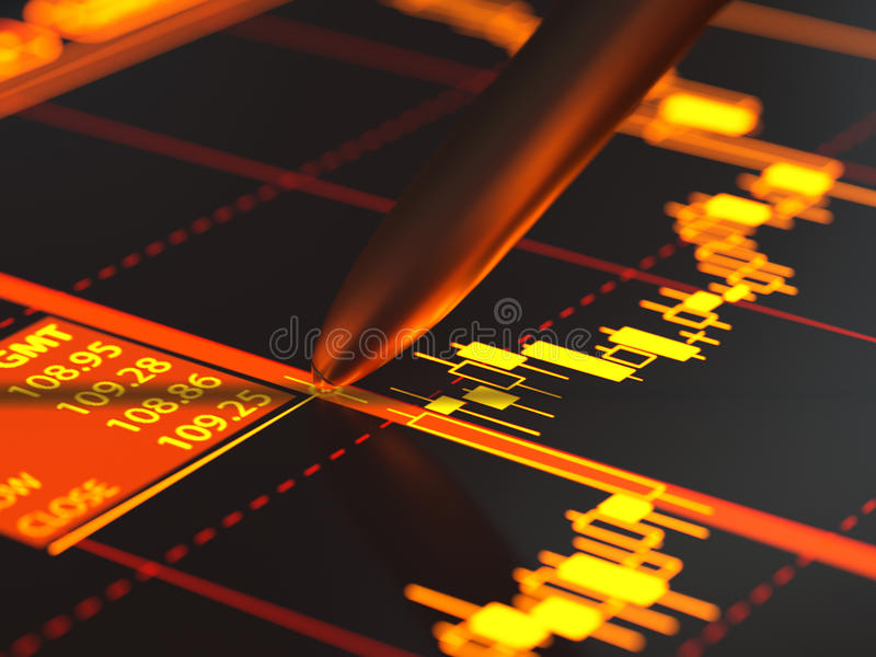 Candlestick chart. On display close-up royalty free illustration