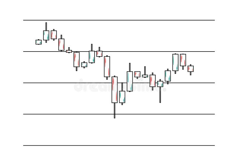 Candlestick chart in financial market royalty free illustration