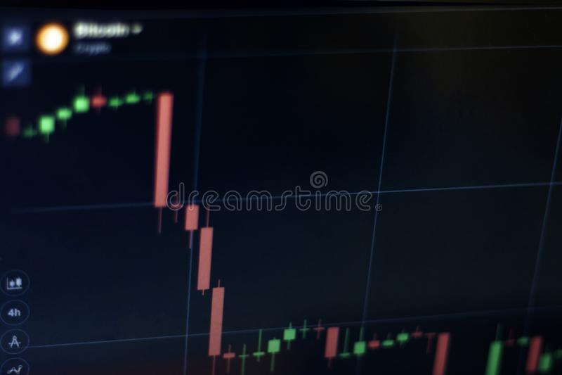 Candlestick chart on laptop screen,The stock chart for business stock photos
