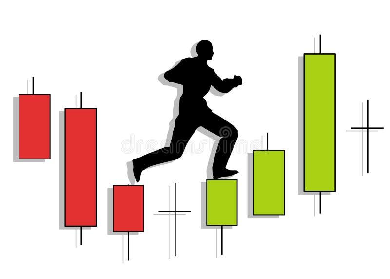 Candlestick Chart Man Running Up. An illustration featuring a silhouette of a man running upward on top of candlestick patterns vector illustration
