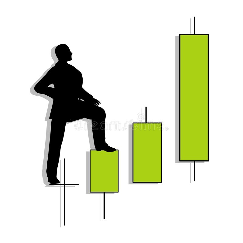 Candlestick Chart Man Uptrend. An illustration featuring a silhouette of a man standing and looking up at an uptrend candlestick pattern stock illustration