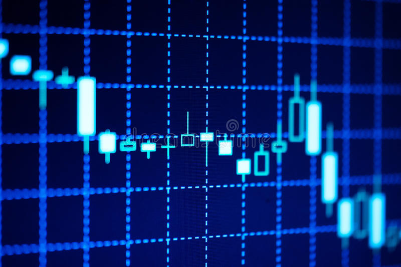 Candlestick chart showing a decreasing trend royalty free stock photo