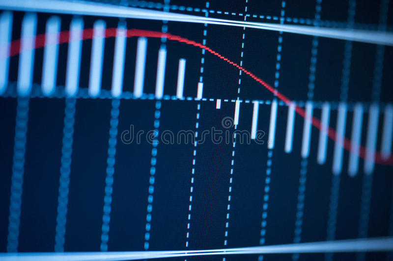Candlestick chart showing a decreasing trend stock photo