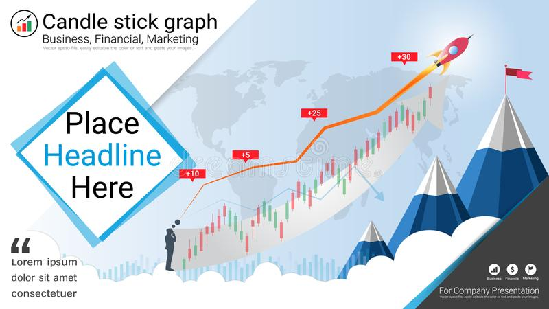 Candlestick and financial graph charts, Infographic presentations template. vector illustration