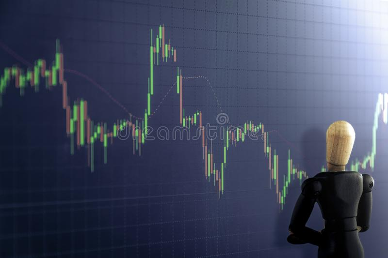 Candlestick graph with Wooden puppet, Business and financial con royalty free illustration