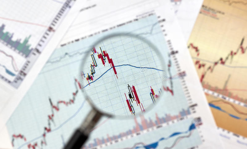Candlestick graphs focus gap on forex chart. Under magnifying glass, business and financial concept royalty free stock photos