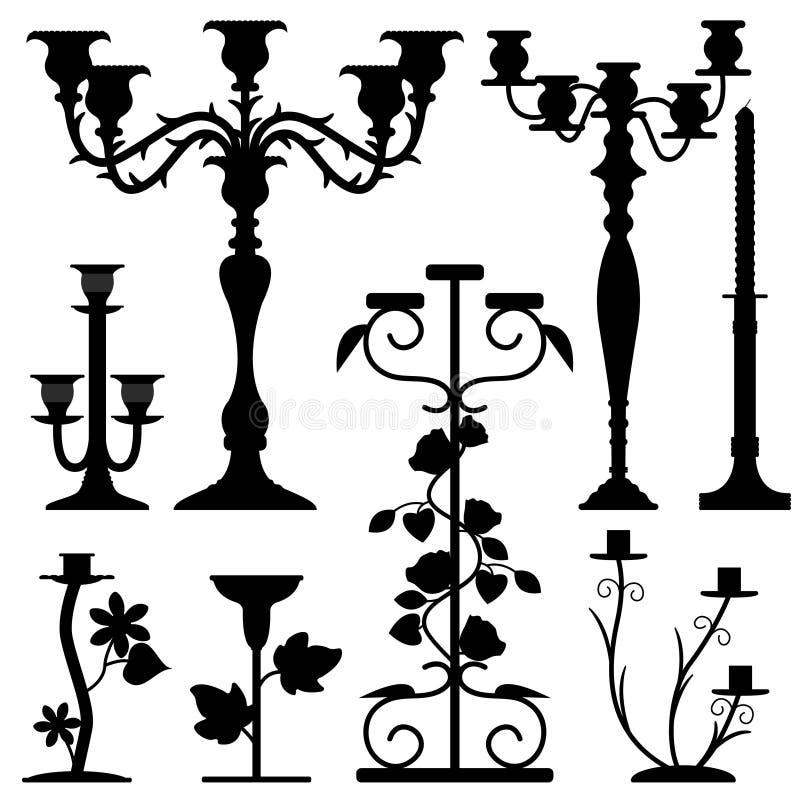 Candlestick Holder Home Interior Decoration. A set of old candlestick holders stock illustration