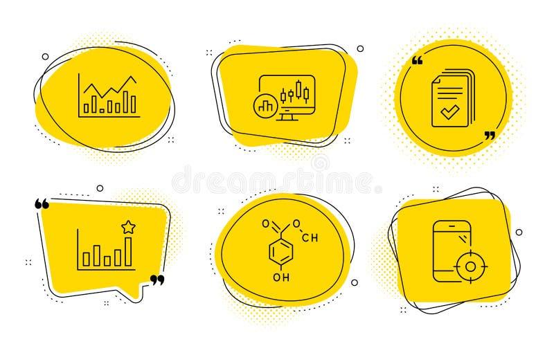 Candlestick-kaart, Efficacy and Infochart-ikonen Handleiding, chemische formule en seintoon Vector stock illustratie