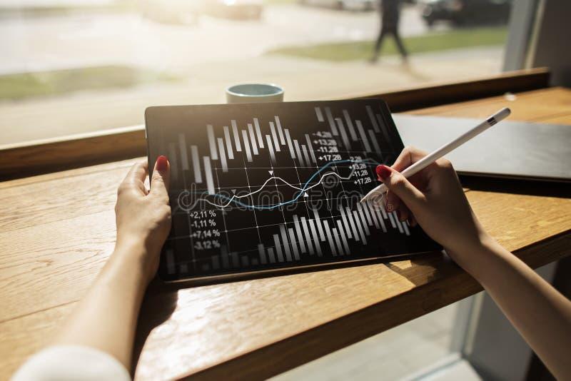 Candlestick mapa Rynku Papierów Wartościowych i rynków walutowych handlarski wykres Wskaźnika Rentowności ROI Pieniężny trendu tł fotografia royalty free