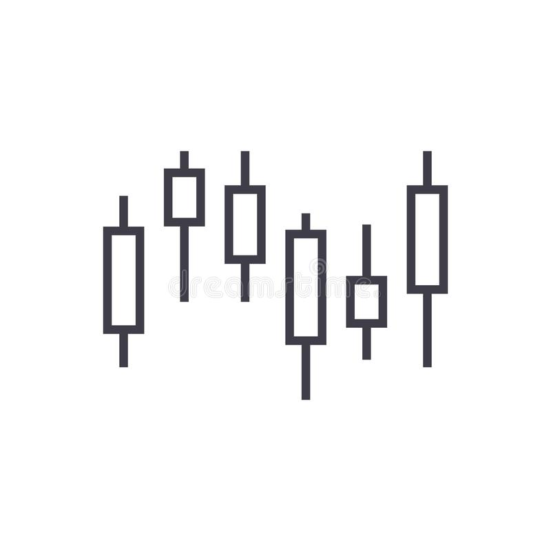 Candlestick mapy wektoru linii ikona, znak, ilustracja na tle, editable uderzenia ilustracji