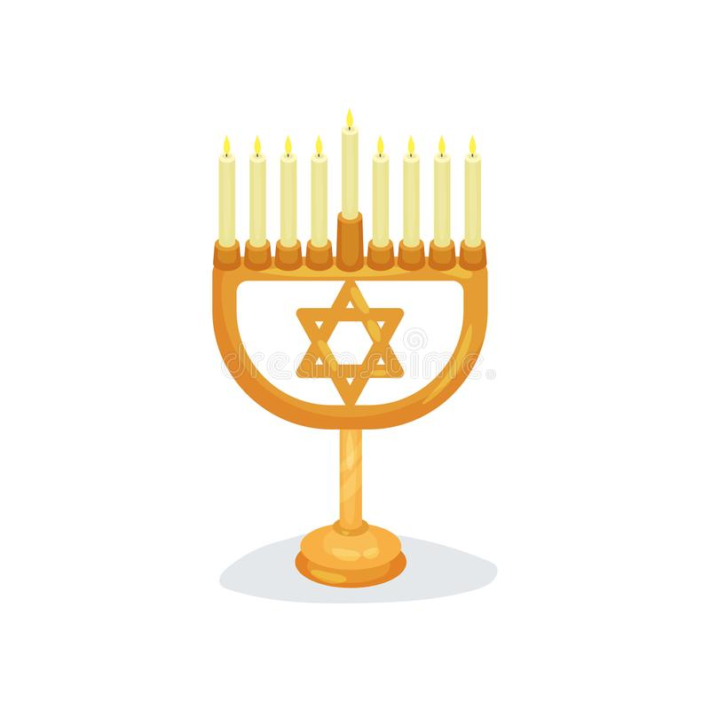 Candlestick with nine burning candles and star of David. Jewish religion. Golden Hanukkah menorah. Religious symbol royalty free illustration