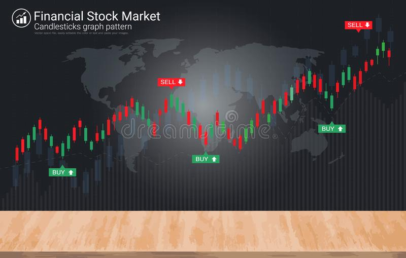 Candlestick patterns on blackboard is a style of financial chart stock illustration