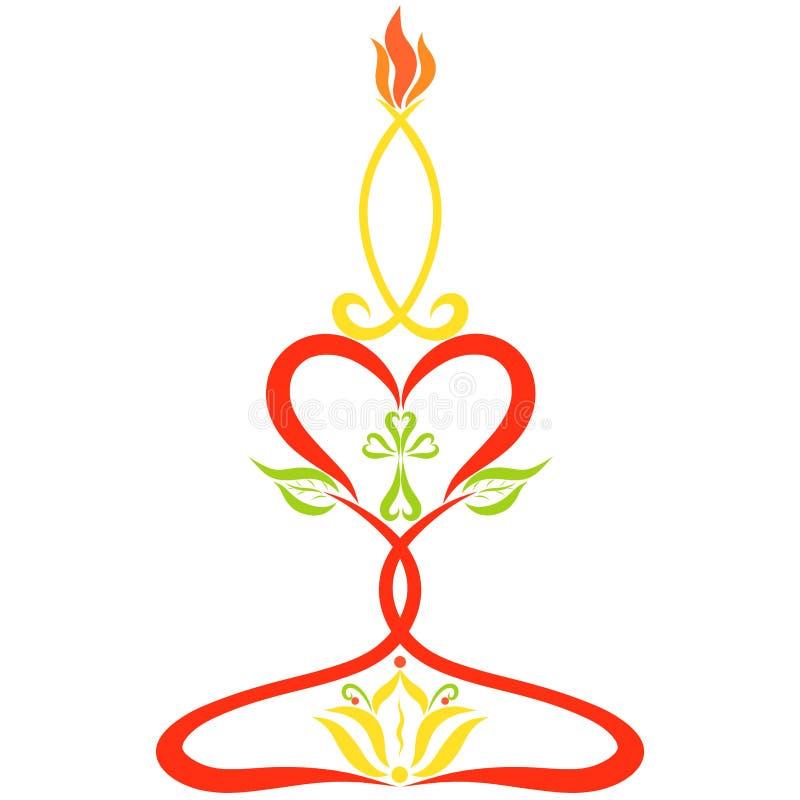 Candlestick robić serca z krzyżem, leluja i burni royalty ilustracja