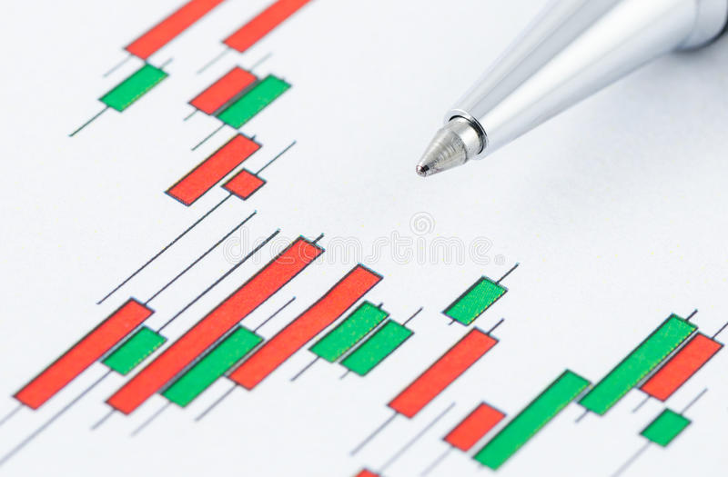 Candlestick stock chart with pen. Close up of candlestick stock chart with pen royalty free stock photography