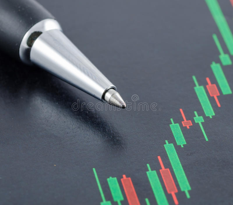 Candlestick stock chart with pen. Close up of candlestick stock chart with pen stock photo
