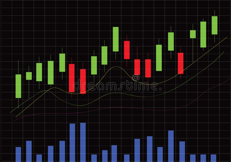 Candlestick Stock Chart With Volume Bars stock illustration