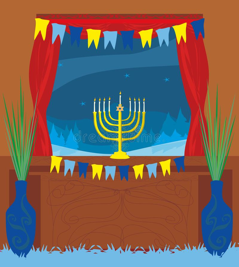 Candlestick w okno - Hanukkah ilustracji