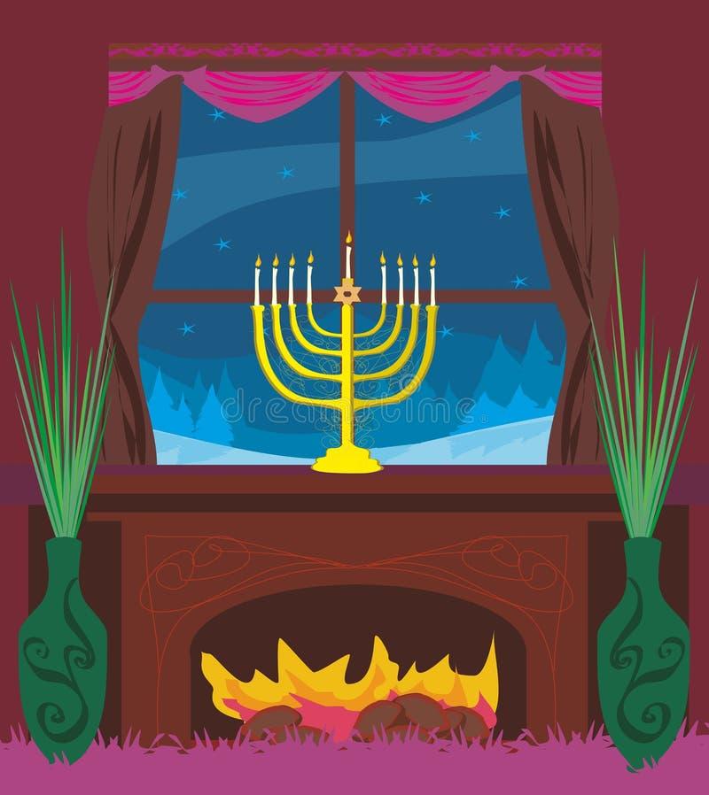 Candlestick w okno - Hanukkah ilustracja wektor