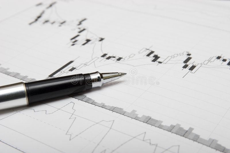 Download Candlesticks chart and pen stock photo. Image of analysis - 1588800