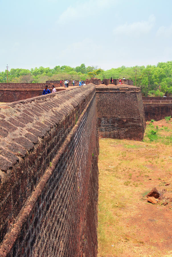 CANDOLIM, GOA, INDIA - 11 APR 2015: Ancient Fort Aguada and lighthouse built in the 17th century. royalty free stock photos