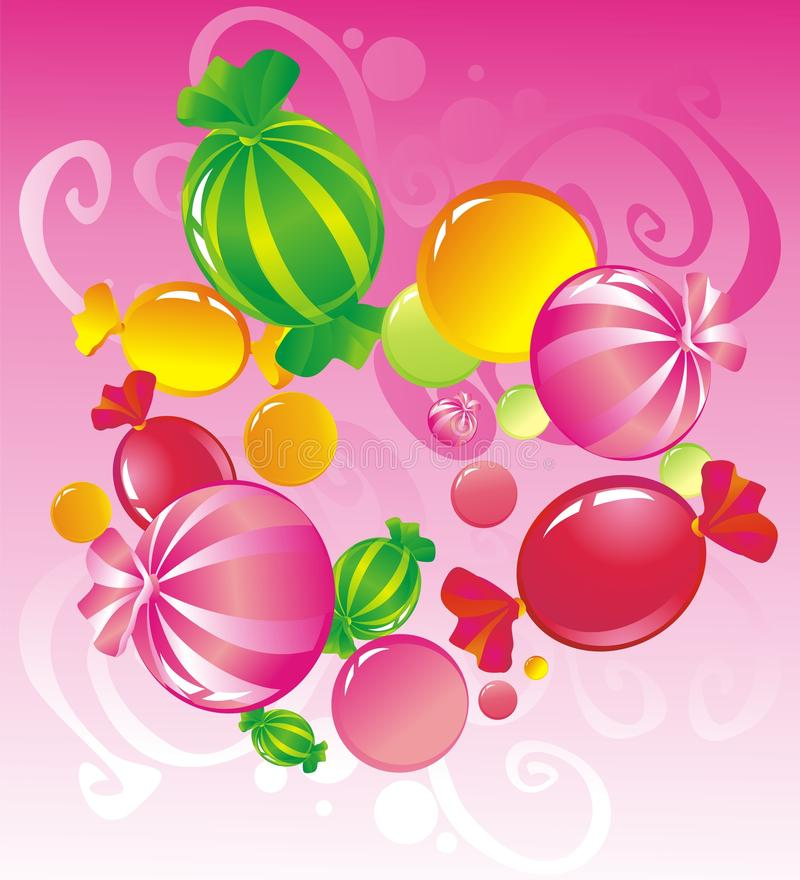 Candy. Allsorts from sweets on a pink background stock illustration