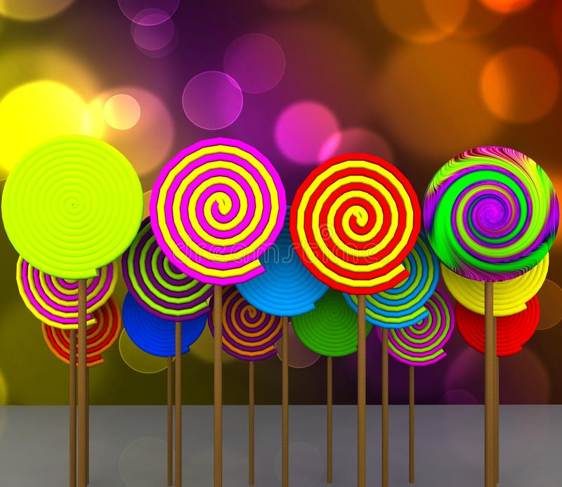 Candy - 3D. 3d illustration - licks and licks colored with wooden rod vector illustration