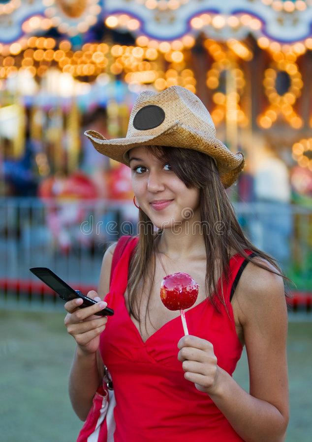 Candy apple girl stock photo