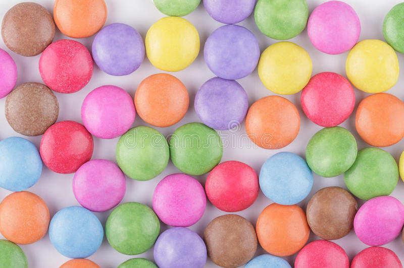 Candy Background. Close up of a Pile of Colorful Chocolate Coated Candy royalty free stock image
