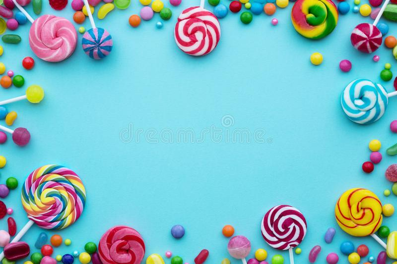 Candy background with copyspace stock photography