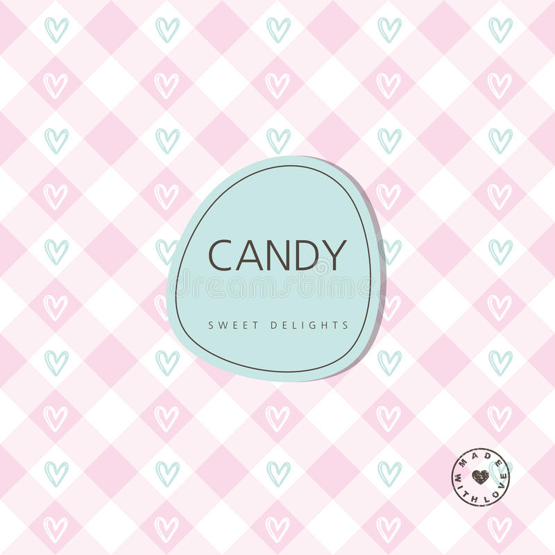 Candy background - sweet delights. Background with label. Design. Element royalty free illustration