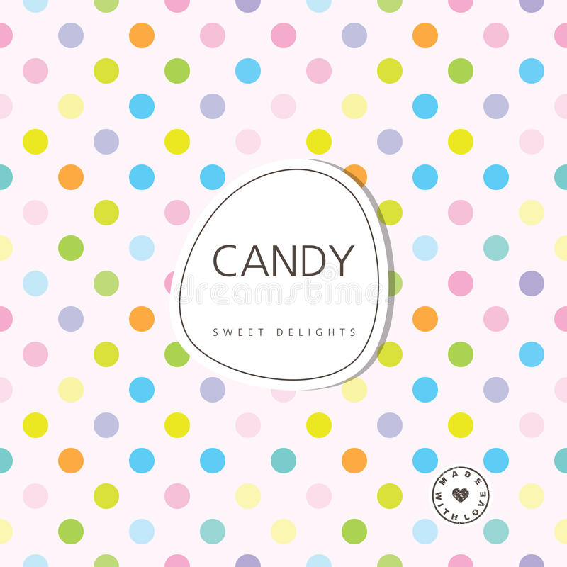 Candy background - sweet delights. Background with label. Design element stock illustration