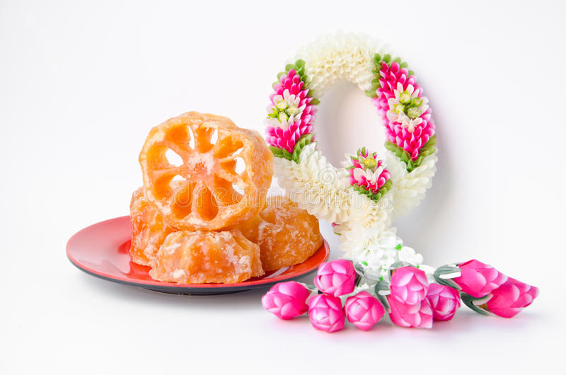 Candy bael and Jasmin and roses garland, Dessert of Thailand st stock photography