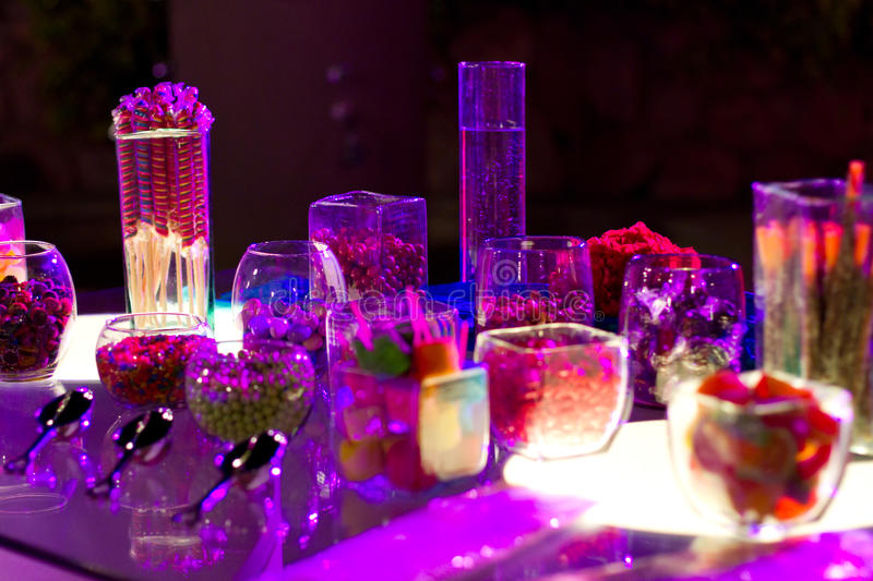 Candy bar. At a wedding, illuminated at night