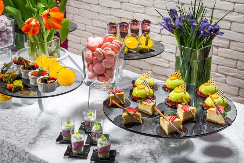 Candy bar, delicious fruit desserts in a restaurant stock photography