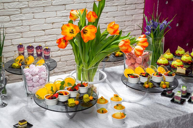 Candy bar, delicious fruit desserts in a restaurant stock photo