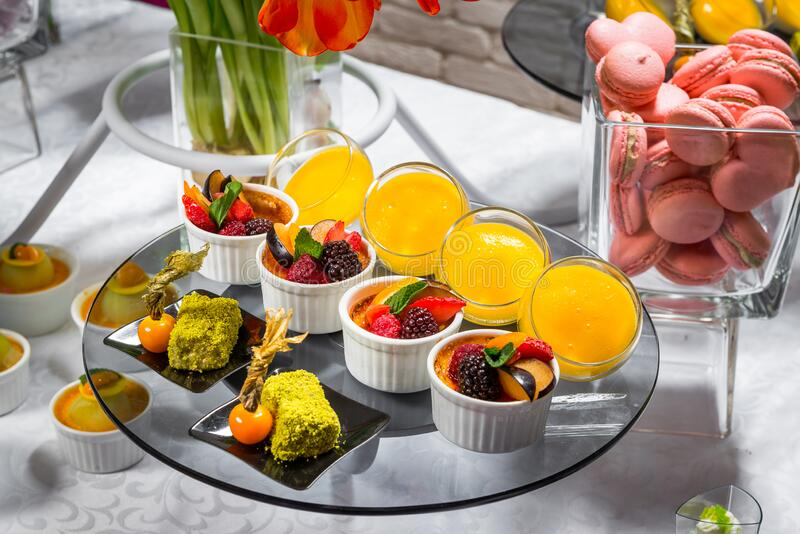 Candy bar, delicious fruit desserts in a restaurant stock images