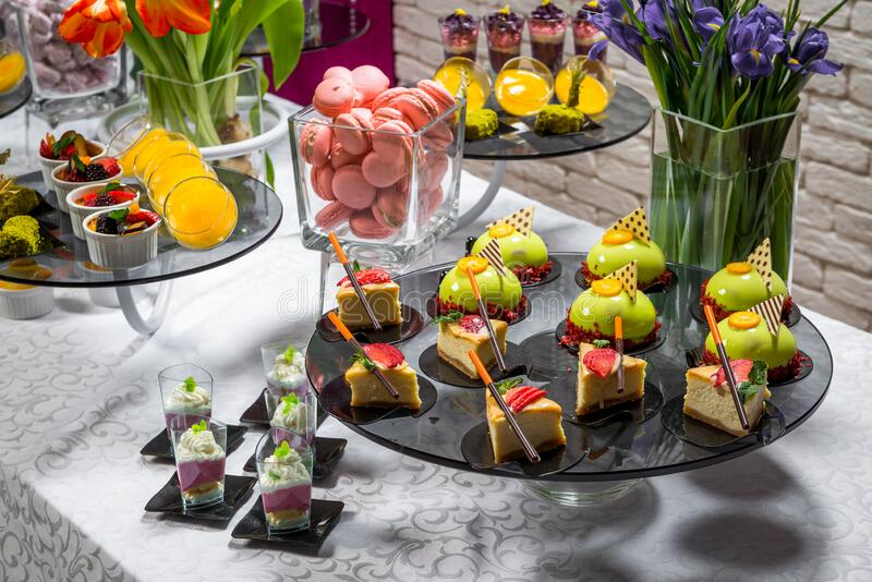 Candy bar, delicious fruit desserts in a restaurant stock image
