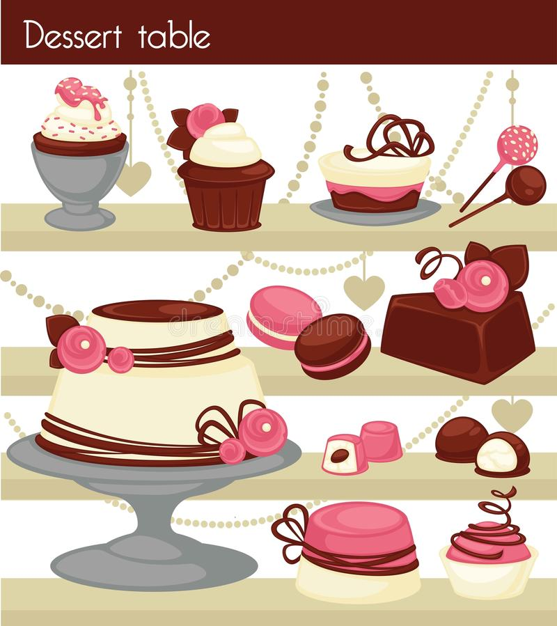 Candy bar or dessert buffet table. stock illustration
