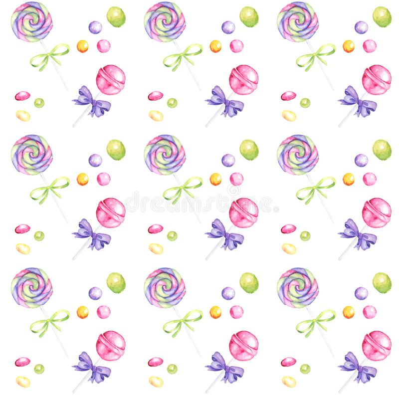 Candy bar hand drawn watercolor pattern, Lollipop and bow bright colors - purple, green, yellow Scrapbook paper on white royalty free stock photos