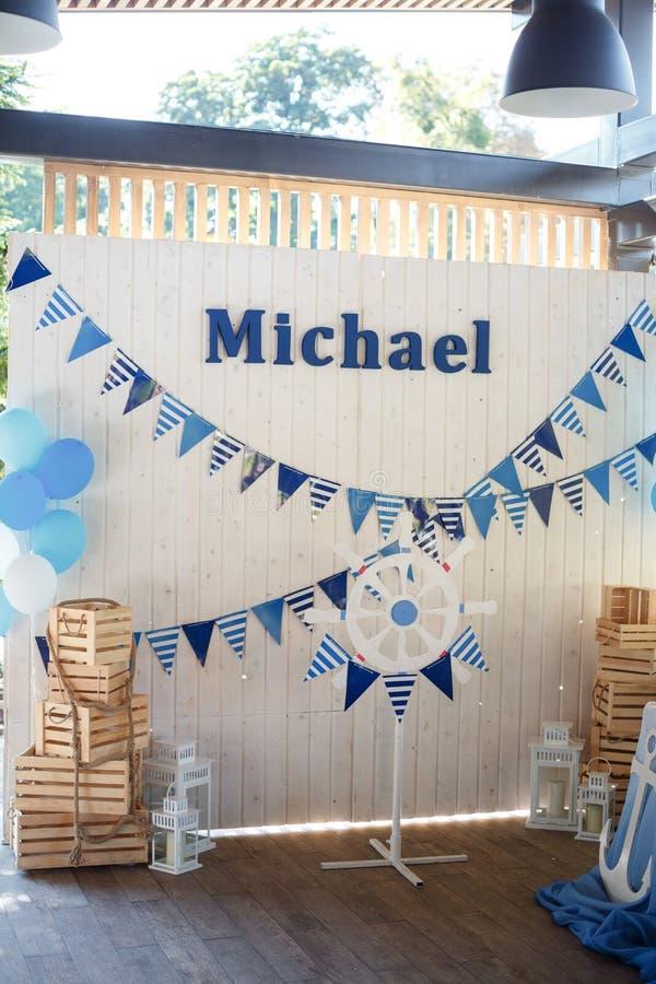 Candy Bar in marine style on children`s day birth. Happy Birthda stock photography