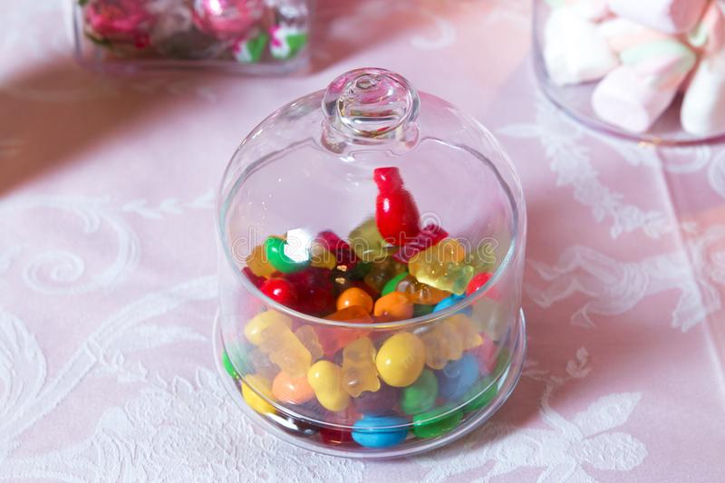 Candy Bar. Round marmalade and rounded chocolate are very colorful stock photo