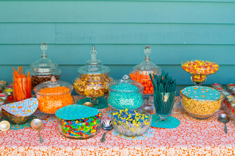 Candy bar at wedding reception stock photo image of for Candy bar for weddings receptions