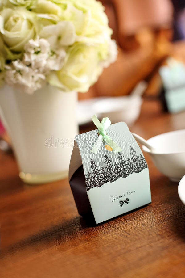 Download Candy box at wedding stock photo. Image of love, green - 29686216