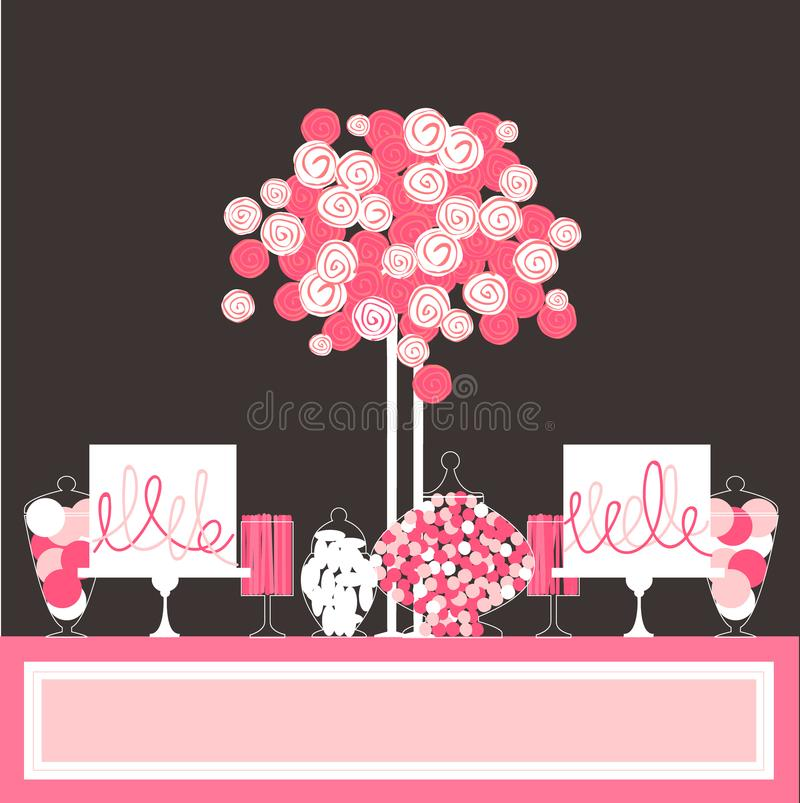 Candy buffet with cake and flowers. vector illustration
